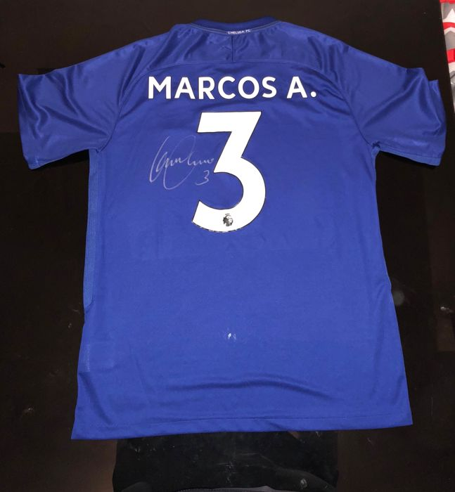 free shipping 5be7c e4943 Signed Marcos Alonso Chelsea Home Shirt 17/18 Proof - Catawiki