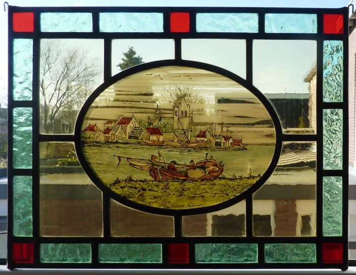 Autographed stained glass suncatcher – Theo van Zanten – view of the port of Edam
