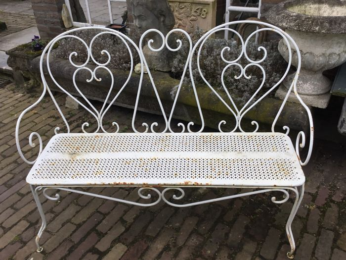 Wrought Iron Garden Bench, France, 1st Half Of The 20th Century
