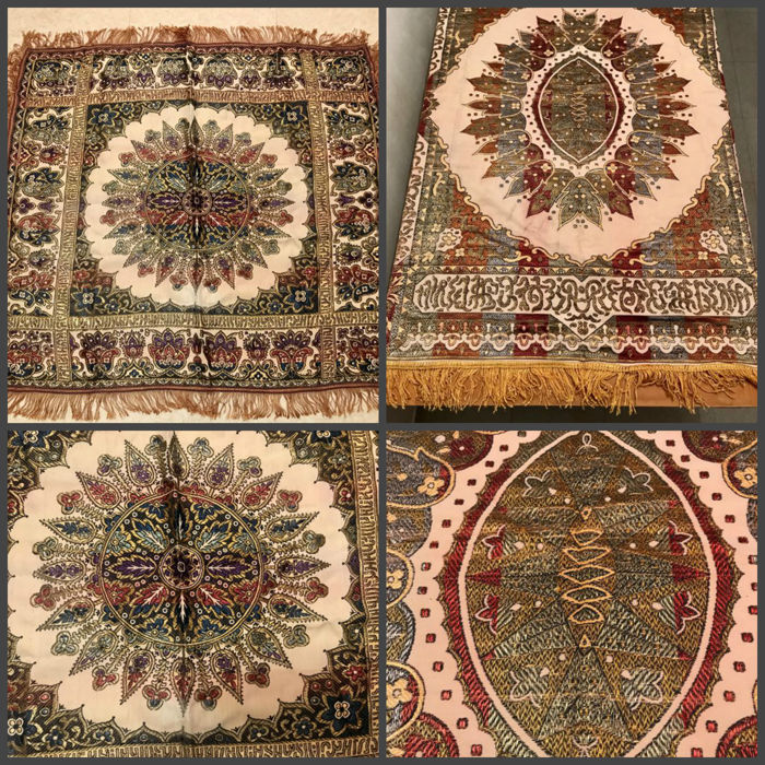2 magnificent antique cloths, silk table rug from Algiers