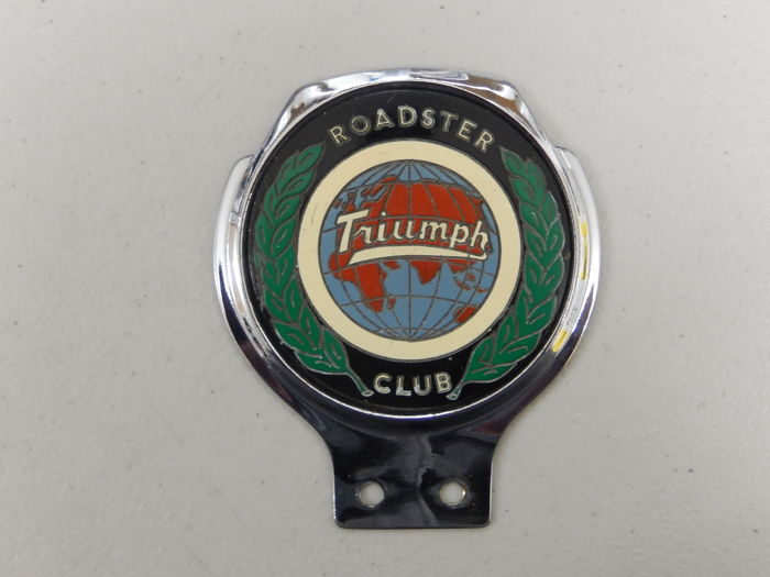 "Vintage Triumph Roadster Club Renamel 70's Chrome Car Badge in Superb Condition 4.25"" x 3.75"" approx"