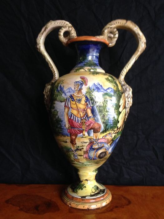Polychrome majolica vase with mythological scene