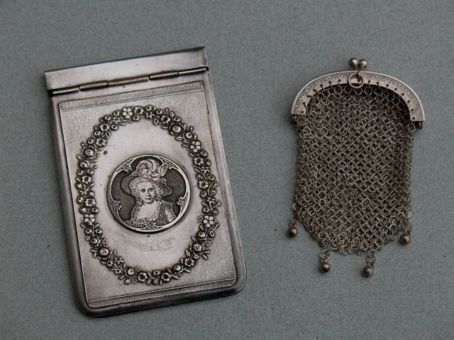 Silver little purse and silver plated dance card/notebook - France - approx. 1900