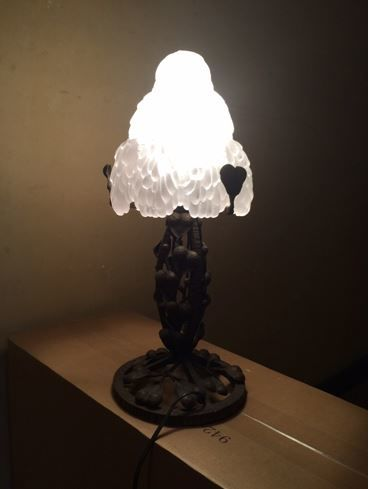 Art Nouveau Wrought Iron Table Lamp With Frosted Glass Shade