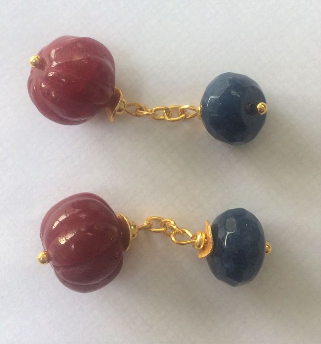 Vintage  Ruby and Sapphire double chain link cuff links