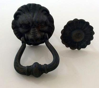Merveilleux Antique French Door Knocker With A Lionu0027s Head