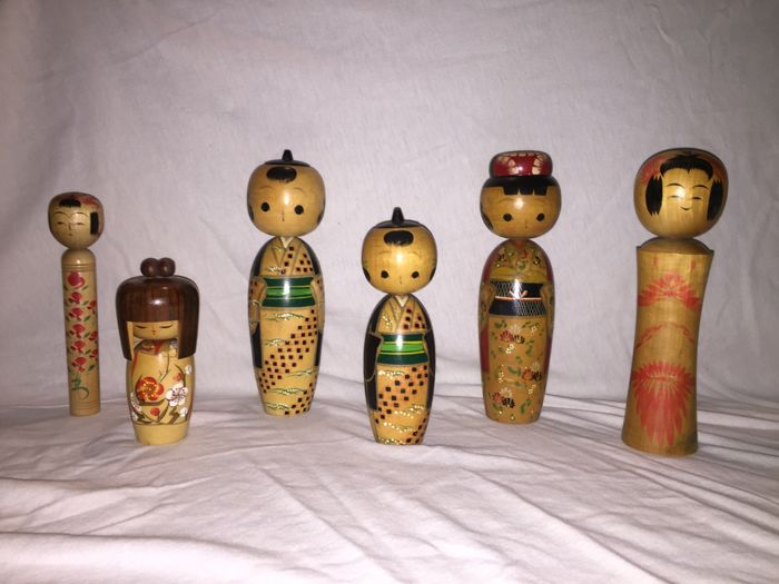 Kokeshi - 6 beautiful pieces