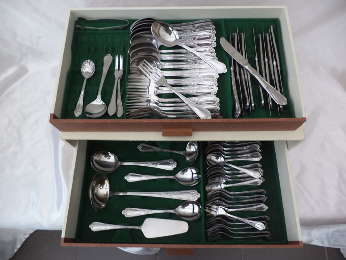 Cutlery case 72-piece 18/10 edelstahl ca 1980-1990, in 2 layers