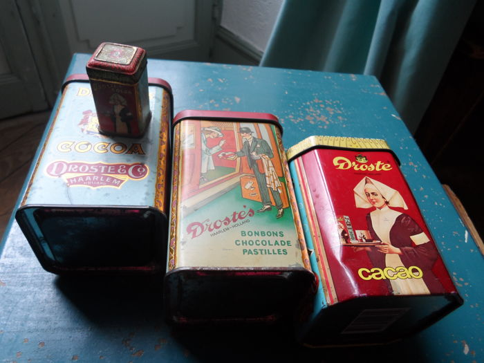 Lot of old Droste tins