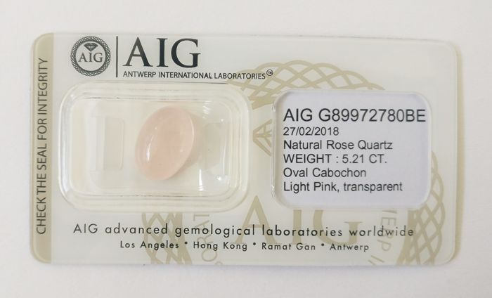 Rose Quartz Light Pink 5.21 ct *** No Reserve ***