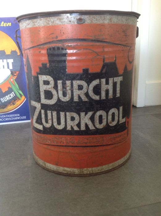 XXL storage tin and advertising sign Burcht Zuurkool 1st half 20th century