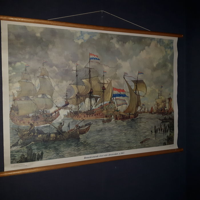 "Beautiful old school poster with old VOC ships with the title ""Incoming fleet by Amsterdam +/-1665"""