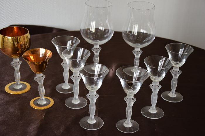 7 Bayel Bacchus Wine Glasses Frosted Male Nude Crystal