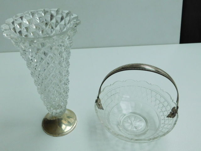Crystal vase with silver base and a crystal chocolate dish with silver handle, 1891 and ca 1940