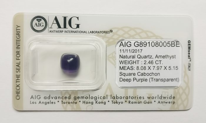 Amethyst Deep Purple 2.46 ct *** No Reserve ***