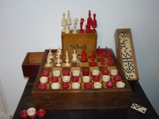 Antique Nurenberg/Germany ivory/bone chess set Morphy Barleycorn Patter II type + game box/board checkers and domino.