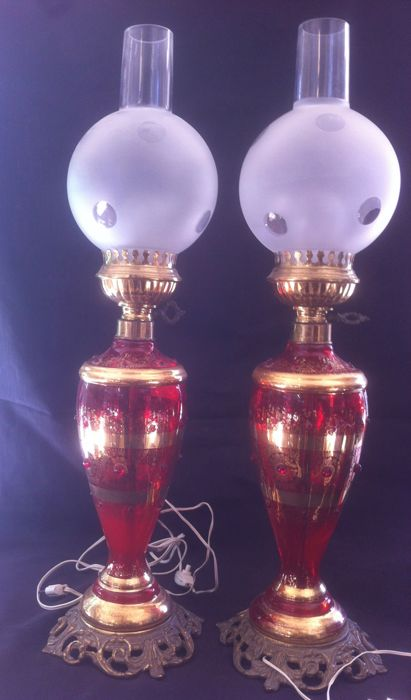 France, red glass lamps with golden accents, early 1900s