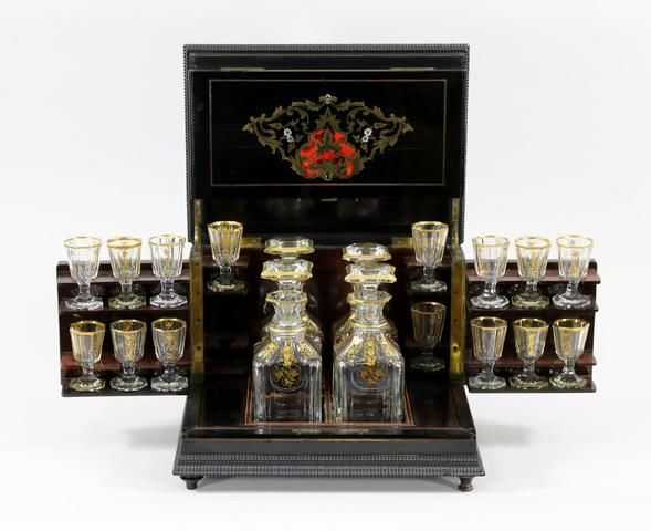 Liqueur cabinet Napoleon III period in blackened, wood inlaid with brass, mother-of-Pearl and tortoiseshell - France 1870