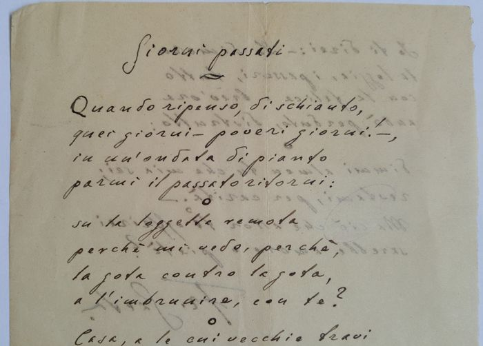 "Francesco Gaeta (1879-1927) - Signed poem ""Giorni Pasati"" in manuscript - early 20th century"