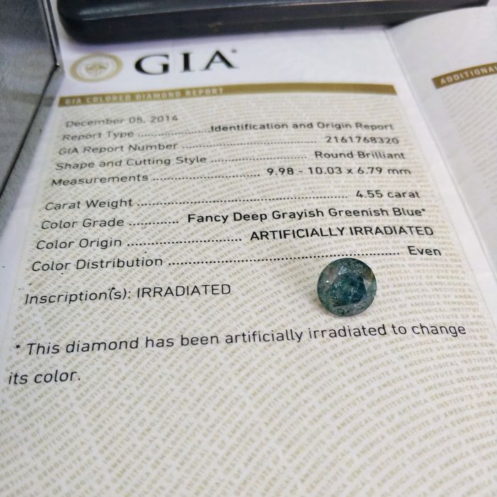 455 Carat Fancy Deep Grayish Greenish Blue Treated Color Gia