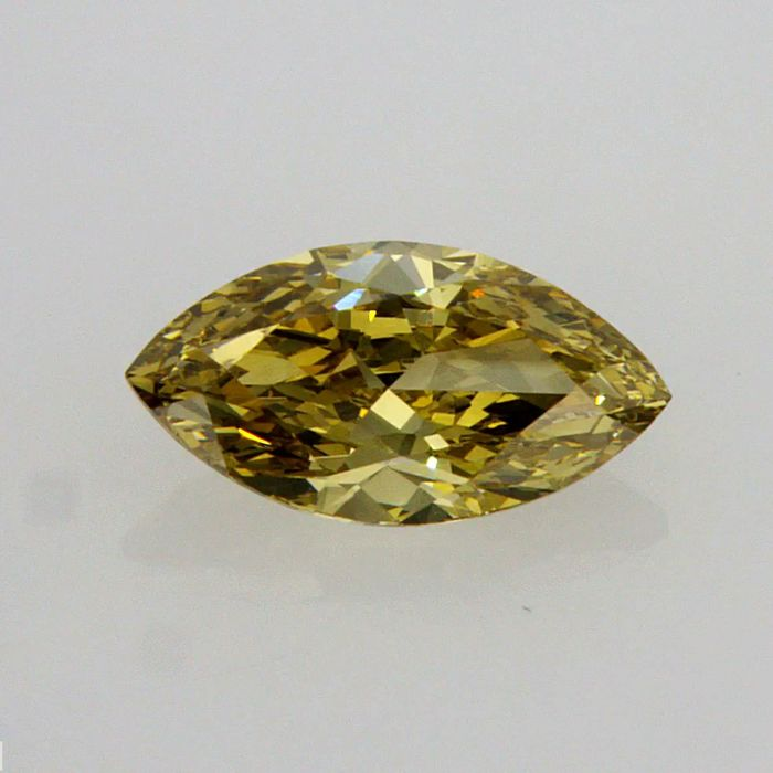1.59 Carat MARQUISE  Fancy Deep Brownish Greenish Yellow VS2 GIA Certificate