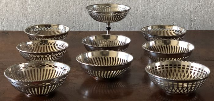 9 Silver plated bonbon dishes