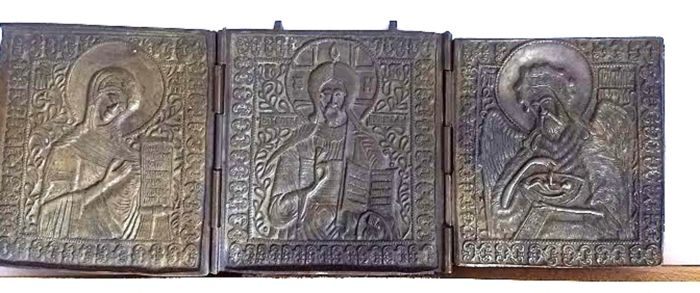Bronze triptych icon, a so-called triptych depicting - Deesis - Russia - 19th century