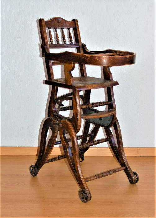Oak Child Wicker Seat High Chair, early 20th century