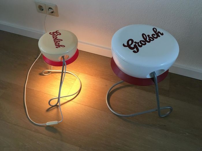Vintage retro advertising Grolsch table lamp & side table, plastic with aluminium stand