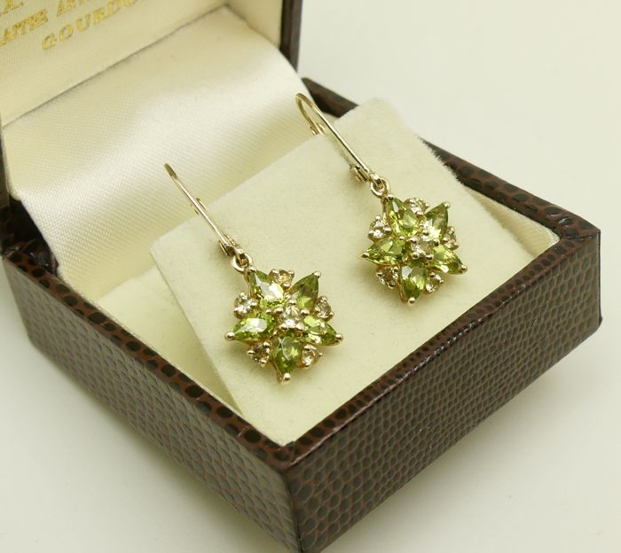 Natural Peridot & Citrine gemstone pendant gold earrings  - No Reserve & excellent condition