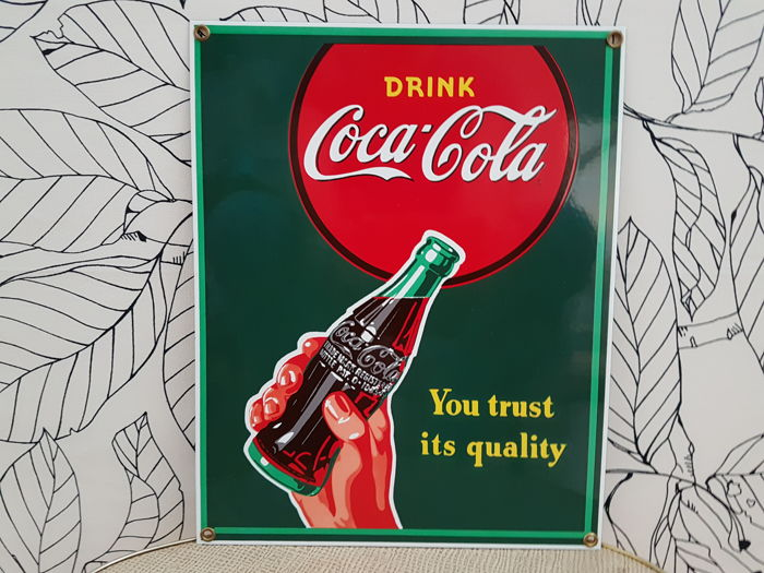Enamel sign, COCA COLA, 1980s, enamel sign, advertising sign, signboard