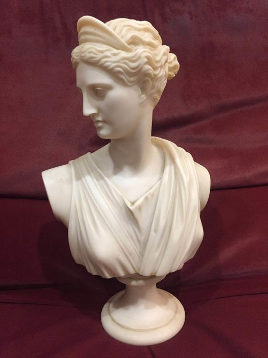Bust of Roman Greek goddess Artemis Diana, in marble dust