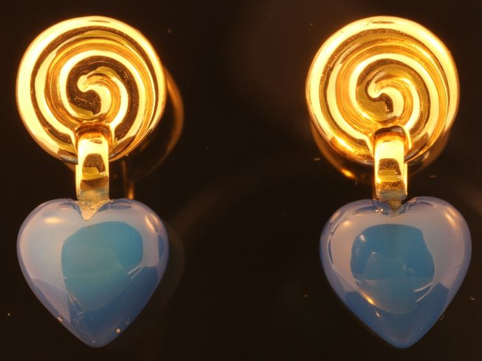 Vintage gold earrings with blue agate heart shapes