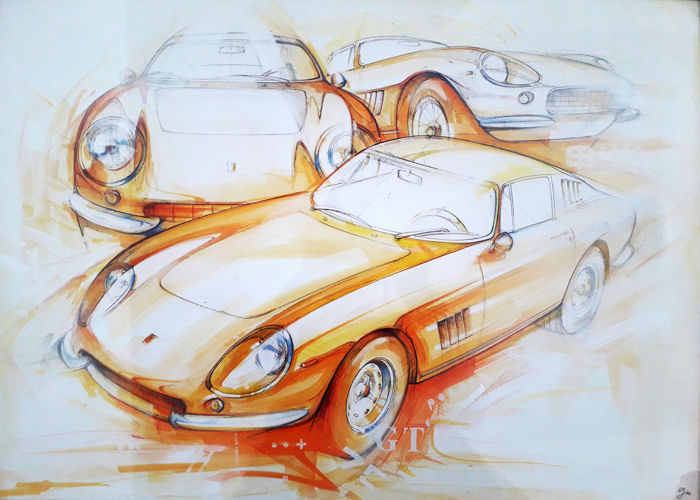 Ferrari 275 - Original watercolour, signed by the artist Gio Manetta 2010