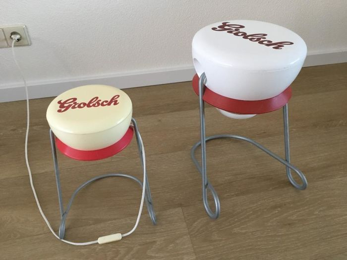 Vintage retro advertising Grolsch table lamp & side table of plastic with Aluminium stand