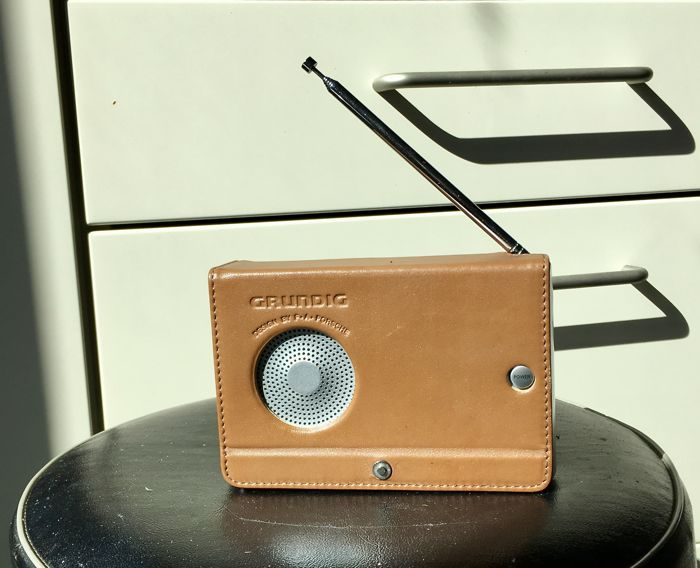 Grundig Yacht Boy World receiver YB-P 2000, design by F.A. Porsche and with a genuine leather cover