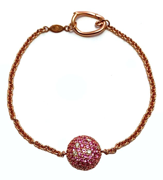 18k Pink Gold - AAA quality Pink Sapphires - VS quality Diamonds chain Bracelet