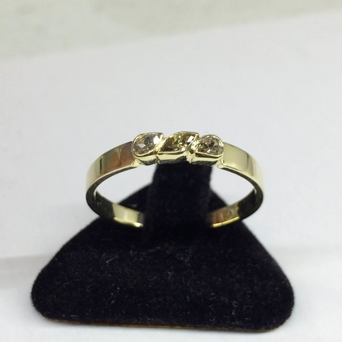 Hand made 14k gold ring with diamonds 0.22ct., Size: 15(55)***No reserve***