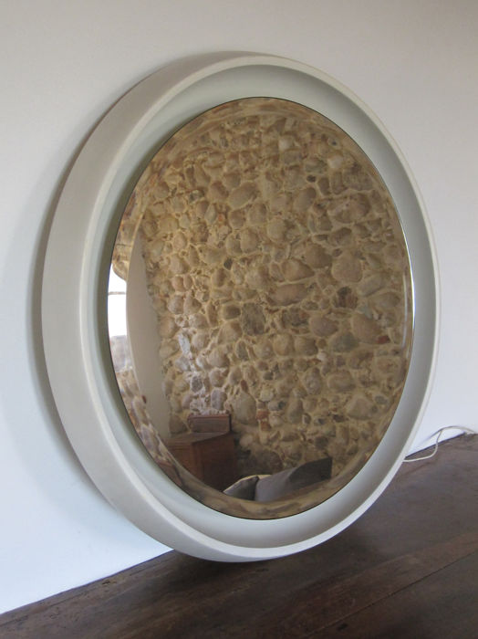 Round mirror with frame in plastic and bright neon, 1960s/70s
