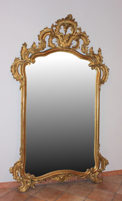 Louis Philippe Florentine mirror in carved and gilded wood - Florence, 19th century