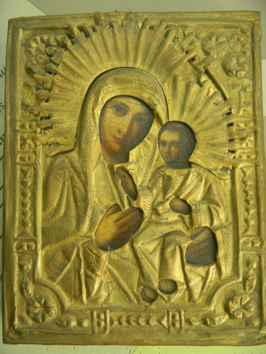 Orthodox icon - Virgin Mary with Jesus - Russia from the 19th century