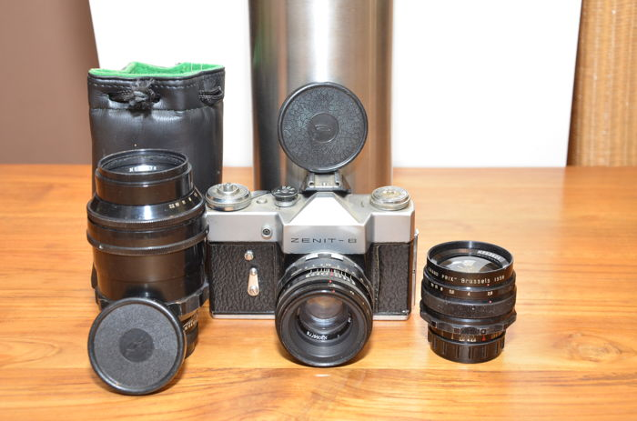 Beautiful Zenit-B SLR with 3 lenses, the standard Helios-44-2, the Mir-1 and the Tair-11-2 The latter two won awards at the Grand Prix Brussels 1958