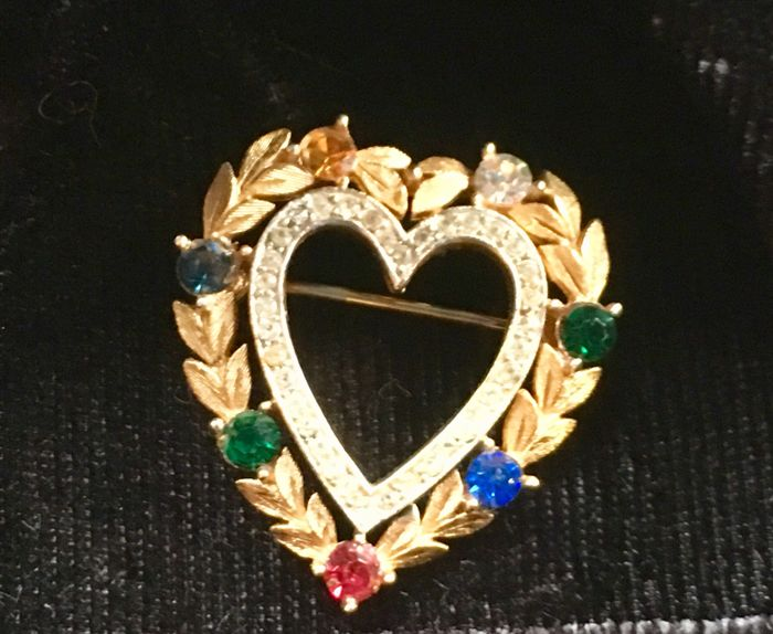 "Vintage American  Trifari ""Dearest""  Sweetheart Pin"