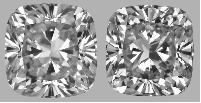 Beautiful Pair of 1.46 ct Total Weight of Cushion Cut G-H VVS1 With GIA - #2863-2864