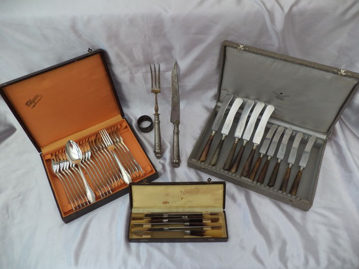 Cutlery 43-piece TILQUIN BLANC 90 / RICH.ABR.HERDER hoorn qlty / INOXIDABLE -antique- + xtra