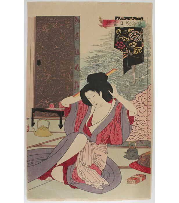 "Original woodblock by Tsukioka Yoshitoshi (1839-92) - 'Everyday Story of the Enmei Temple' from the series ""New Selection of Eastern Brocade Pictures"" - Japan - 1886"