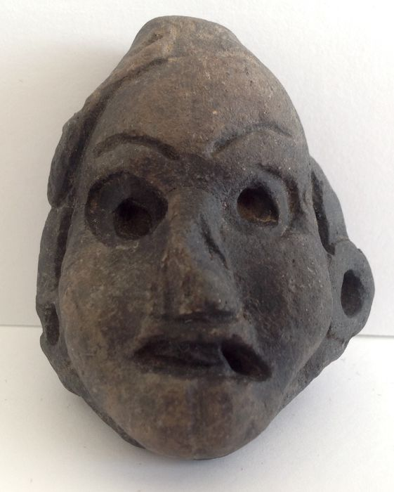 Pre-Columbian West Coast cultures pottery head - Mexico - 5.5 cm