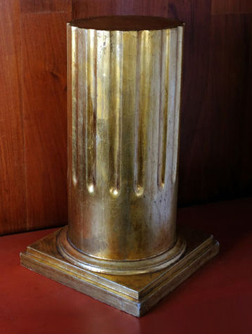Gold painted round fluted wooden pedestal from middle last century.
