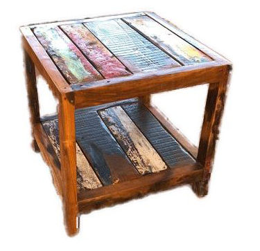 Square coffee table in recycled wood