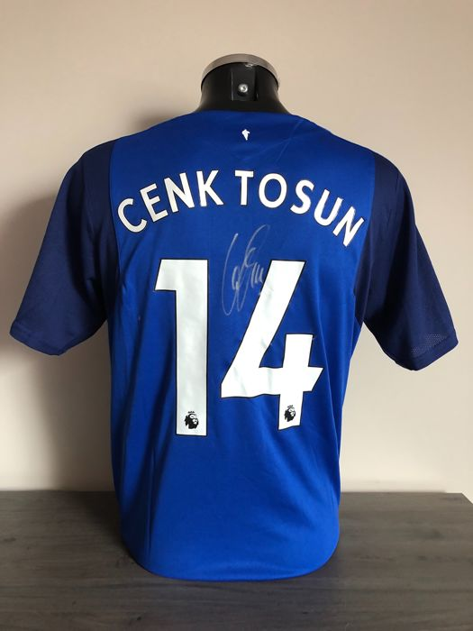 Cenk Tosun signed Everton Fc home shirt 2017-2018 with photos of the moment of signing and COA